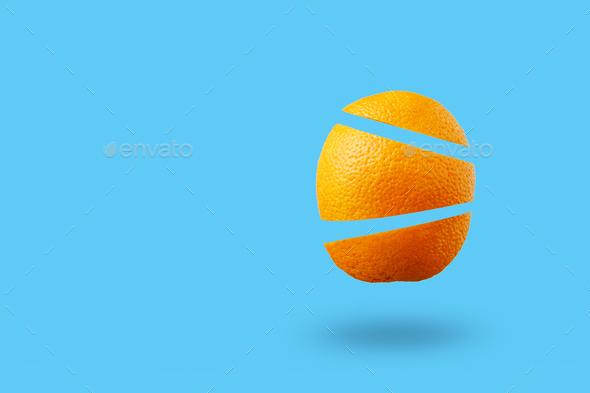 Levitation of summer orange fruit - Stock Photo - Images