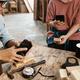 Carpenter phototgraphing wooden blocks - PhotoDune Item for Sale