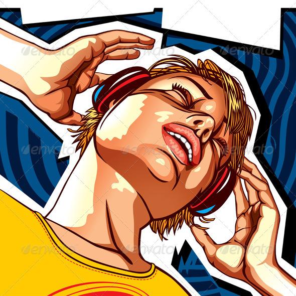 Girl With Headphones - People Characters