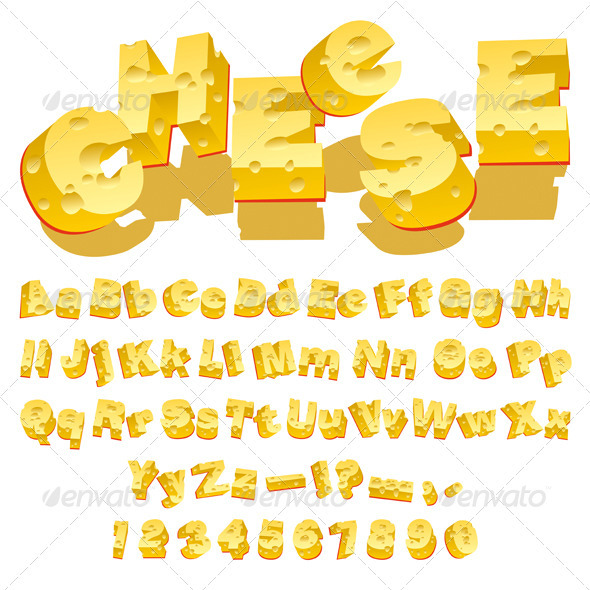 Cheese font - Food Objects
