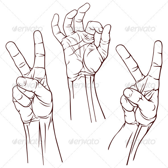 Set of Three Hands - Miscellaneous Vectors