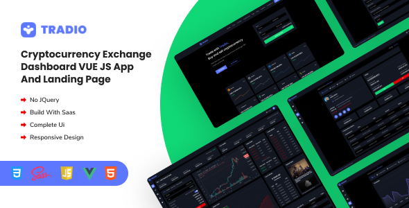 Exceptional Tradio - Cryptocurrency Exchange Vue App Dashboard