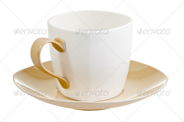 porcelain cup with saucer - Stock Photo - Images