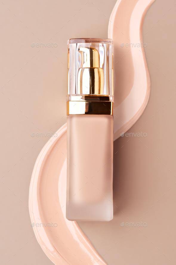 Foundation bottle with liquid foundation - Stock Photo - Images