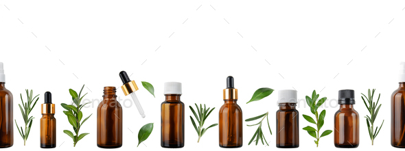 Horizontal seamless flat lay background of dropper and spray bottles with oil and herbs - Stock Photo - Images