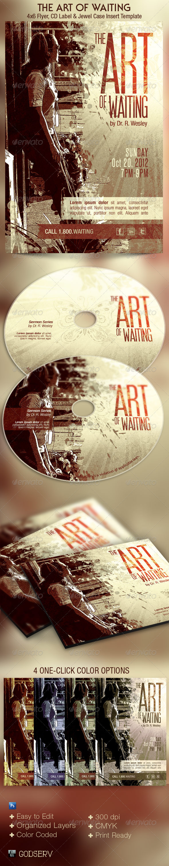Art of Waiting Retro Flyer CD Template  - Church Flyers