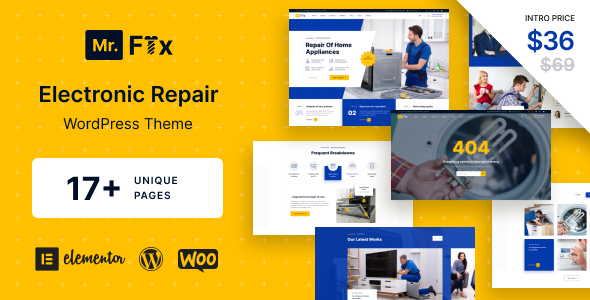 Download MrFix – Electronic Repair WordPress Theme Free Nulled