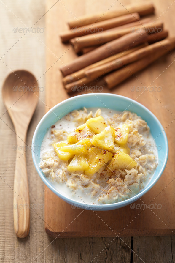 cereal with caramelized apple - Stock Photo - Images