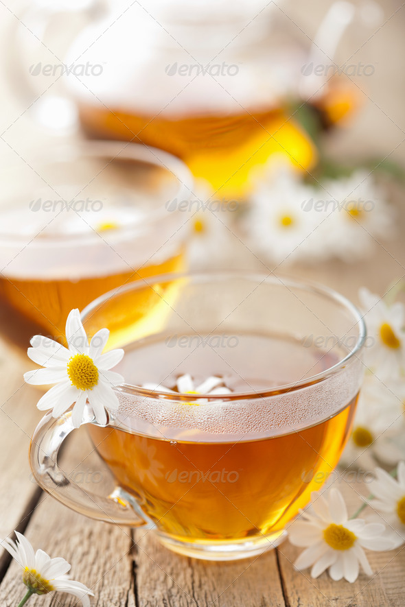 herbal tea with chamomile flowers - Stock Photo - Images