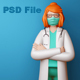 Doctor Girl Wearing Mask with Arms Crossed, 3d rendering.