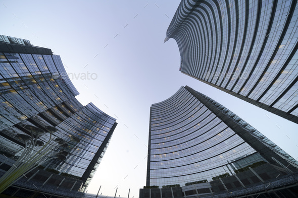 Modern buildings at the Gae Aulenti square, Milan - Stock Photo - Images