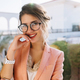 Closeup portrait of young gorgeous girl in stylish glasses, - PhotoDune Item for Sale