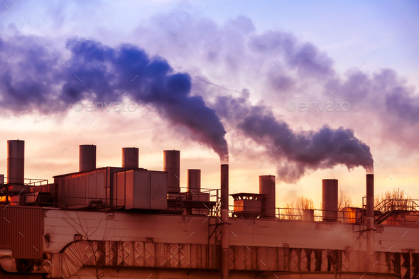 Air pollution with smoke from factory chimneys - Stock Photo - Images