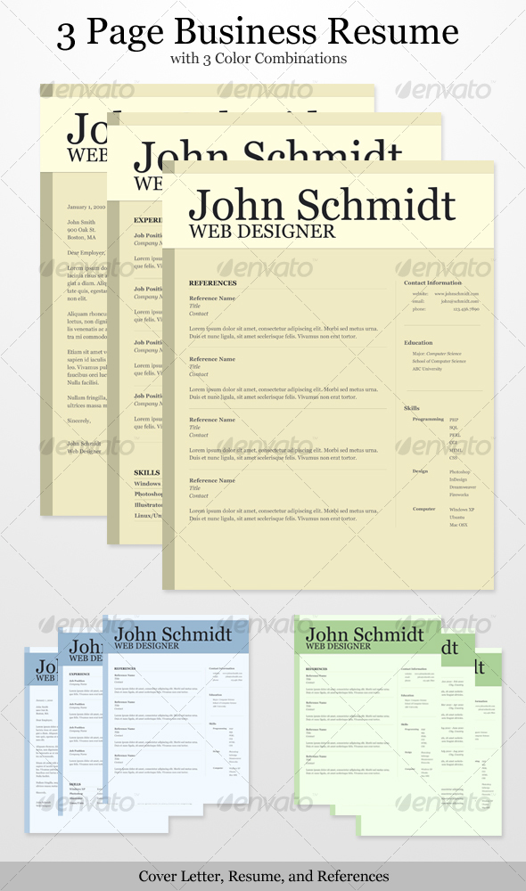 3 Page Business Resume with 3 Color Combinations - Resumes Stationery