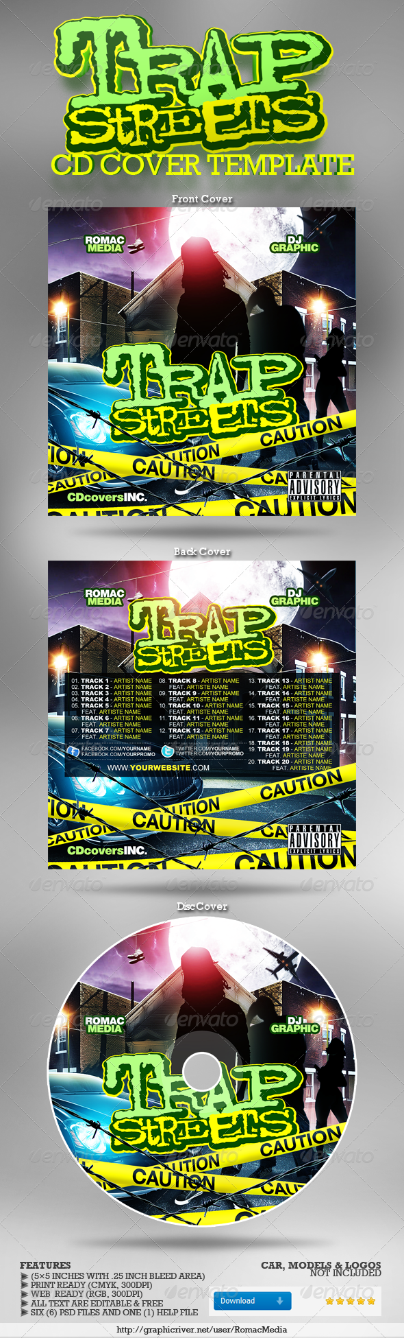 Trap Streets CD Cover - CD & DVD Artwork Print Templates