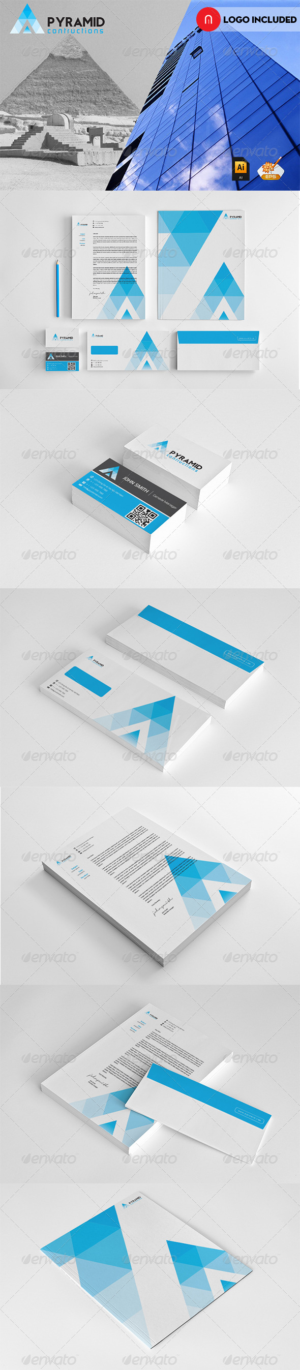 Corporate Startioney Pyramid Contruction - Stationery Print Templates