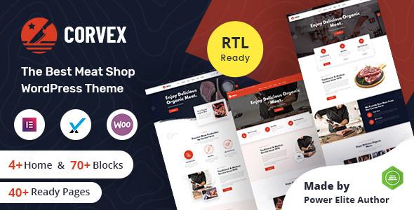 Corvex - Butcher & Meat Shop WordPress Theme + RTL