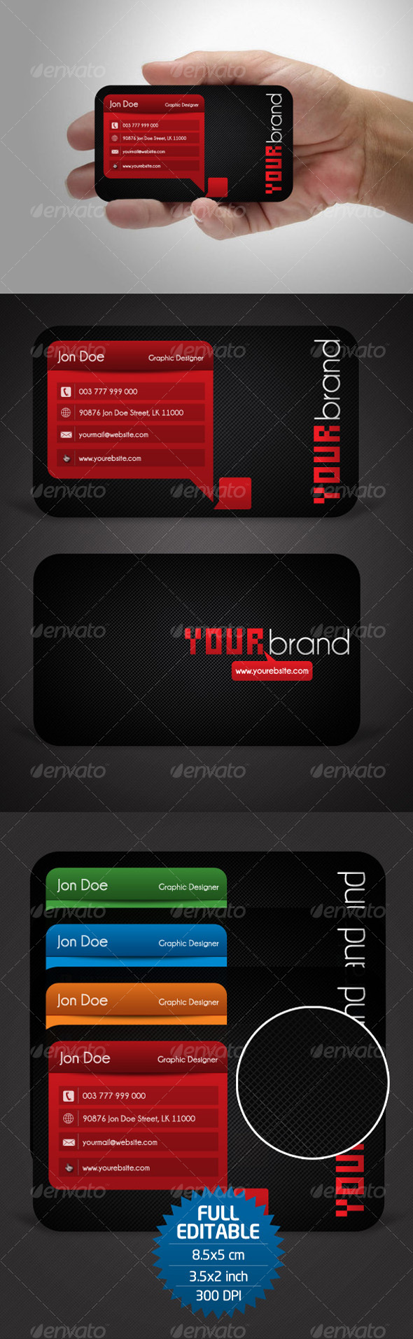 4 Variation Business Card - Corporate Business Cards