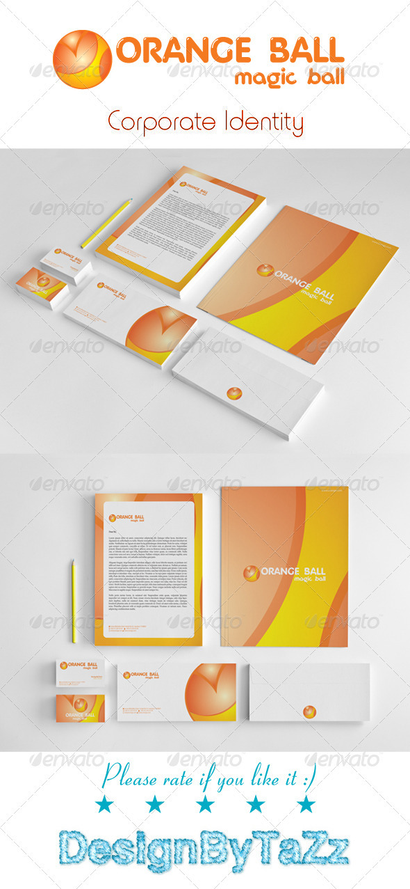 Orange Ball Corporate Identity Package - Stationery Print Templates