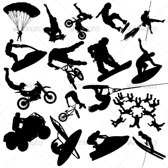 Extreme sport silhouettes - People Characters