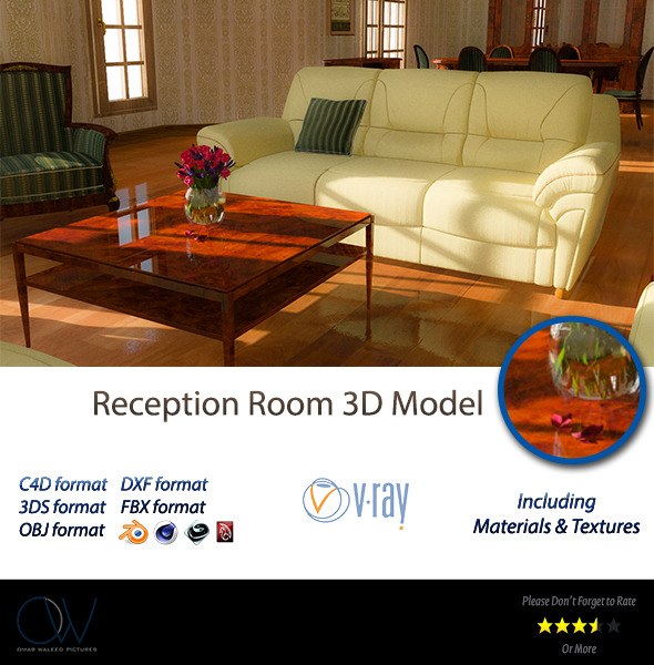 Reception Room 3D Model - 3DOcean Item for Sale