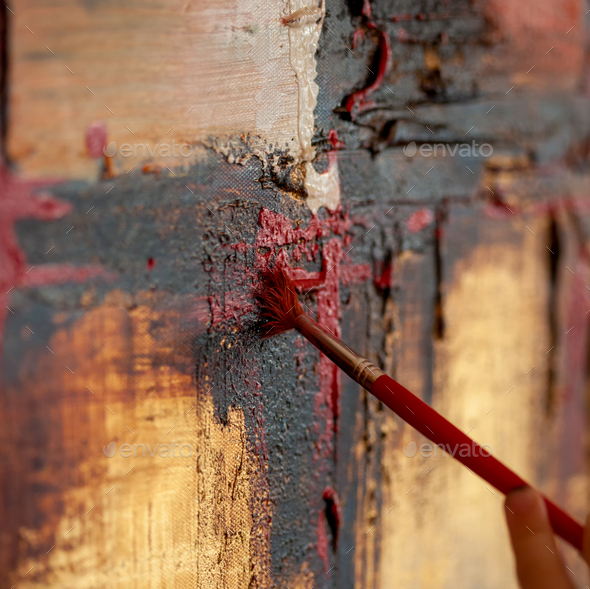 Detail of the brush on a painting on canvas. - Stock Photo - Images