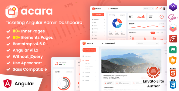 Acara - Ticketing Angular Admin Dashboard - No jQuery