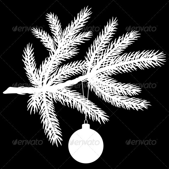 Silhouette of Pine Tree Branch with Christmas Ball - Christmas Seasons/Holidays