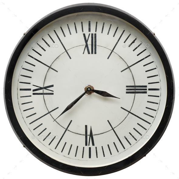 Classic white wall clock - Stock Photo - Images