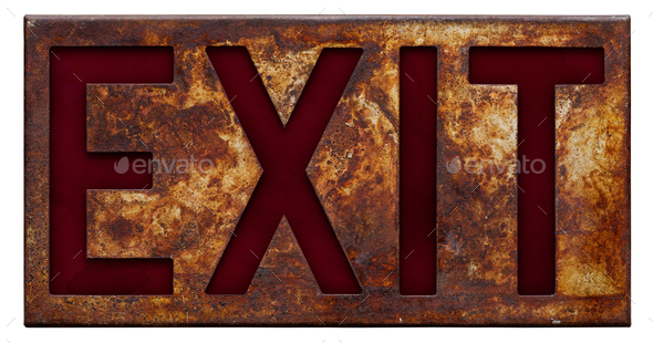 Old rusty exit sign - Stock Photo - Images