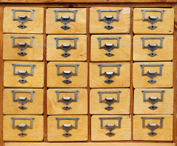 Old wooden cabinet with drawers - Stock Photo - Images