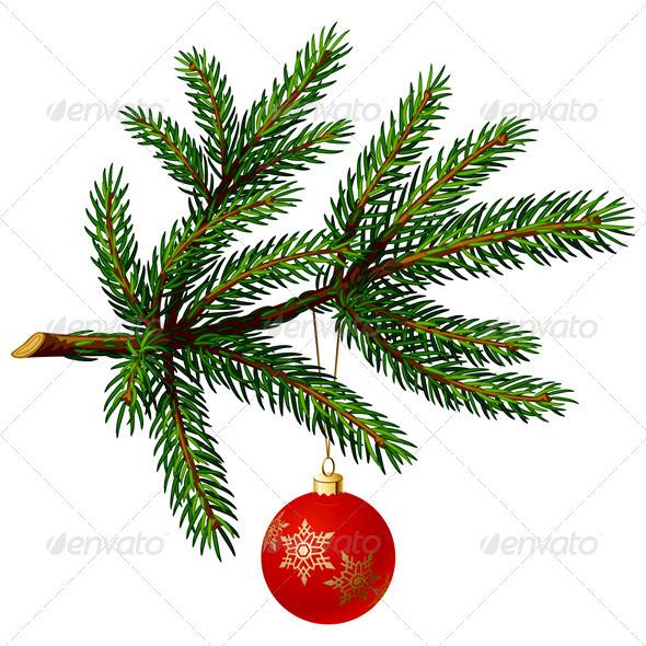 Pine Tree Branch with Christmas Ball - Christmas Seasons/Holidays