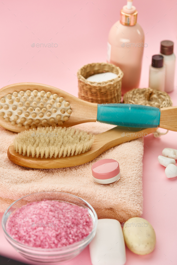 Different skin care products, pink background - Stock Photo - Images