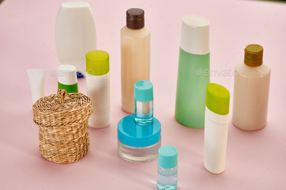 Skin care products, closeup view, pink background - Stock Photo - Images