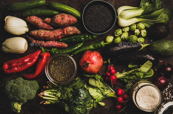 Vegetables, grains, greens and fruit for healthy diet - Stock Photo - Images