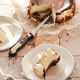 Piece of Homemade San Sebastian burnt cheesecake on white plate - PhotoDune Item for Sale