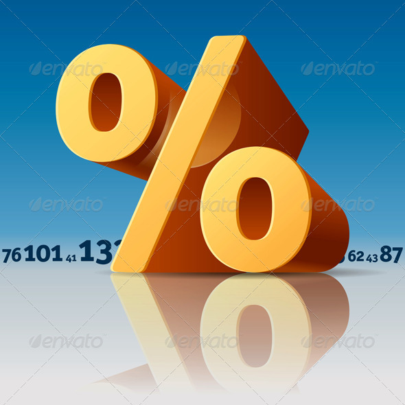 Percent Symbol with Numbers Skyline - Concepts Business