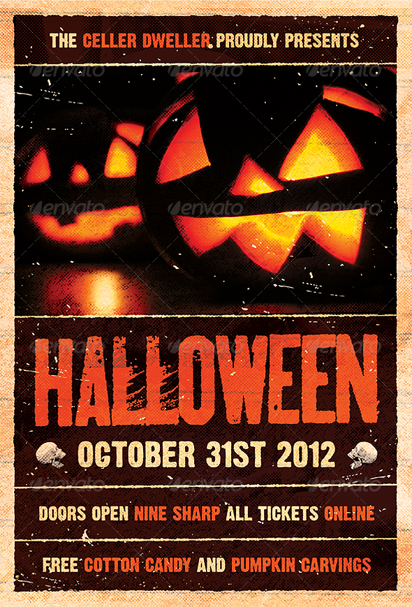 Pumpkin Head - Halloween Flyer Template - Holidays Events