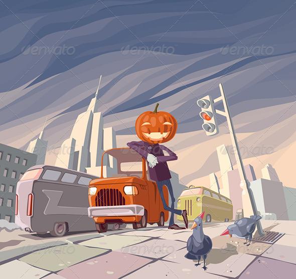 Jack O' Lantern and His Orange Car - Characters Vectors