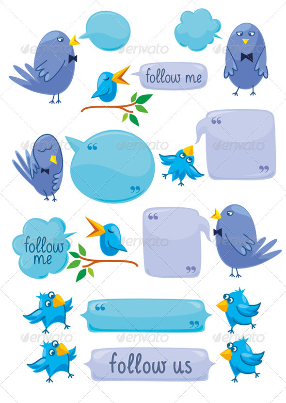 Set Of Blue Birds With Blobs - Communications Technology