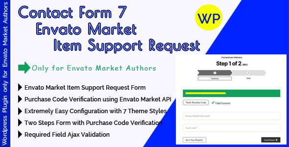 CF7 Envato Market Item Support Request - Contact Form 7 Support Form With Purchase Code Verification