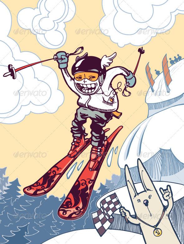 The brave ski freerider - Characters Vectors