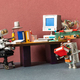 Retro office interior workspace and robots managers. - PhotoDune Item for Sale