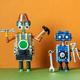 Robots service workers. Fixing maintenance robotics electronic diagnostics concept. - PhotoDune Item for Sale