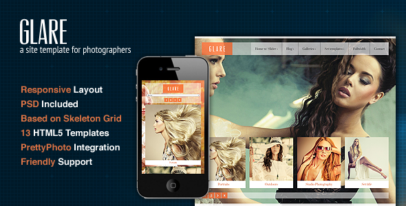 Glare Photography Portfolio Site Template By Cssigniter ThemeForest - Best website templates for photographers