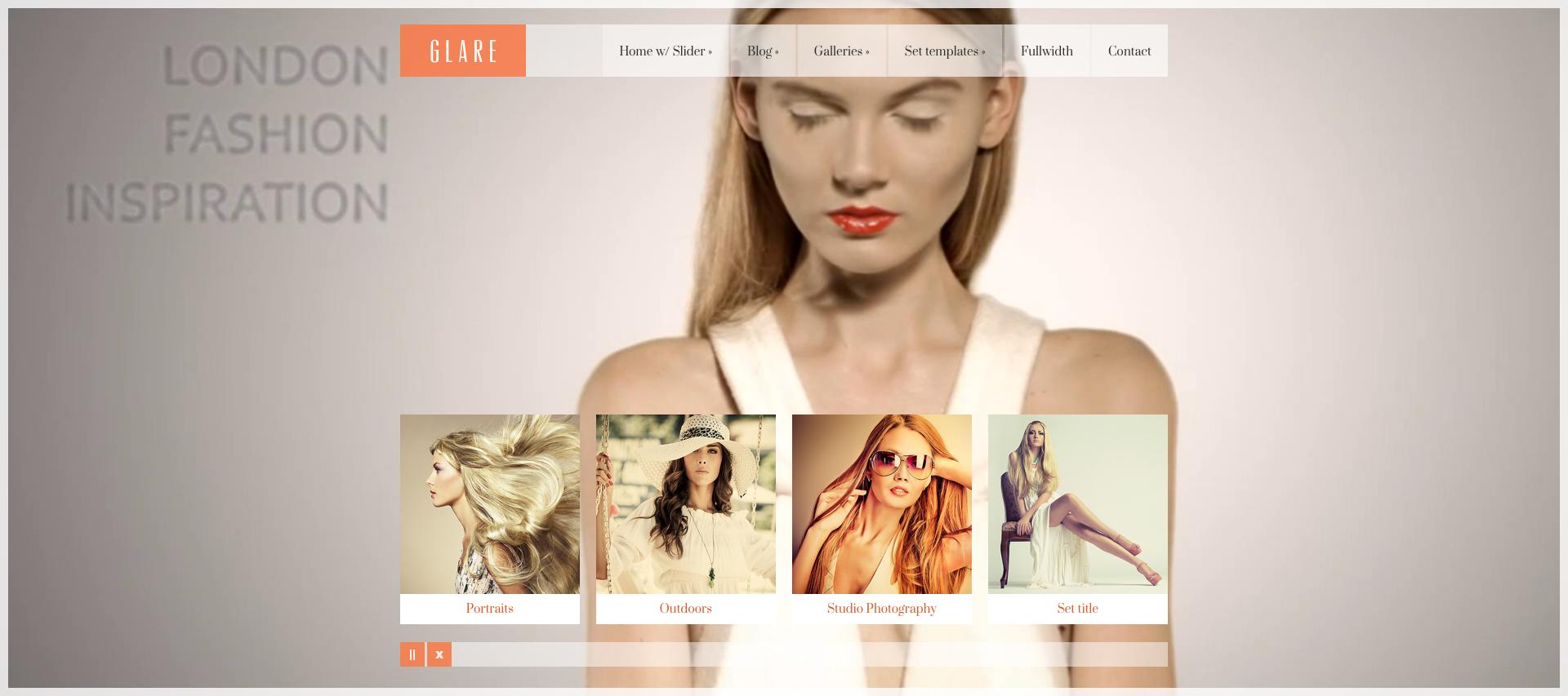 glare photography portfolio site template by cssigniter themeforest
