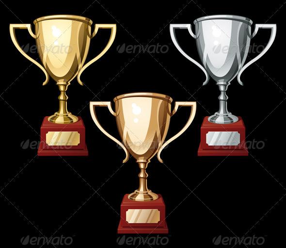 Set of Three Sport Cups - Miscellaneous Vectors