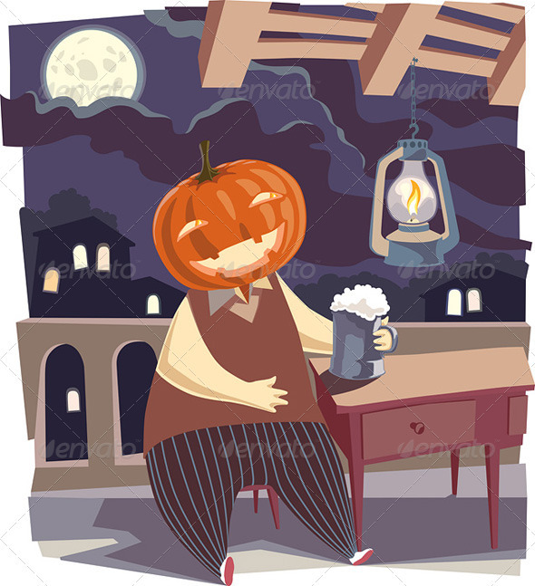 Jack O' Lantern with a Pint of Beer - Characters Vectors
