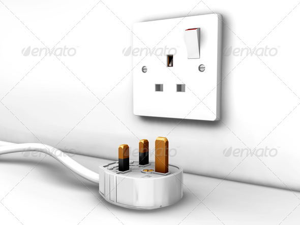 Plug socket and plug - Technology 3D Renders