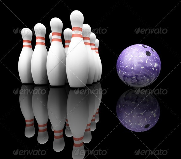 Bowling ball and skittles - Objects 3D Renders